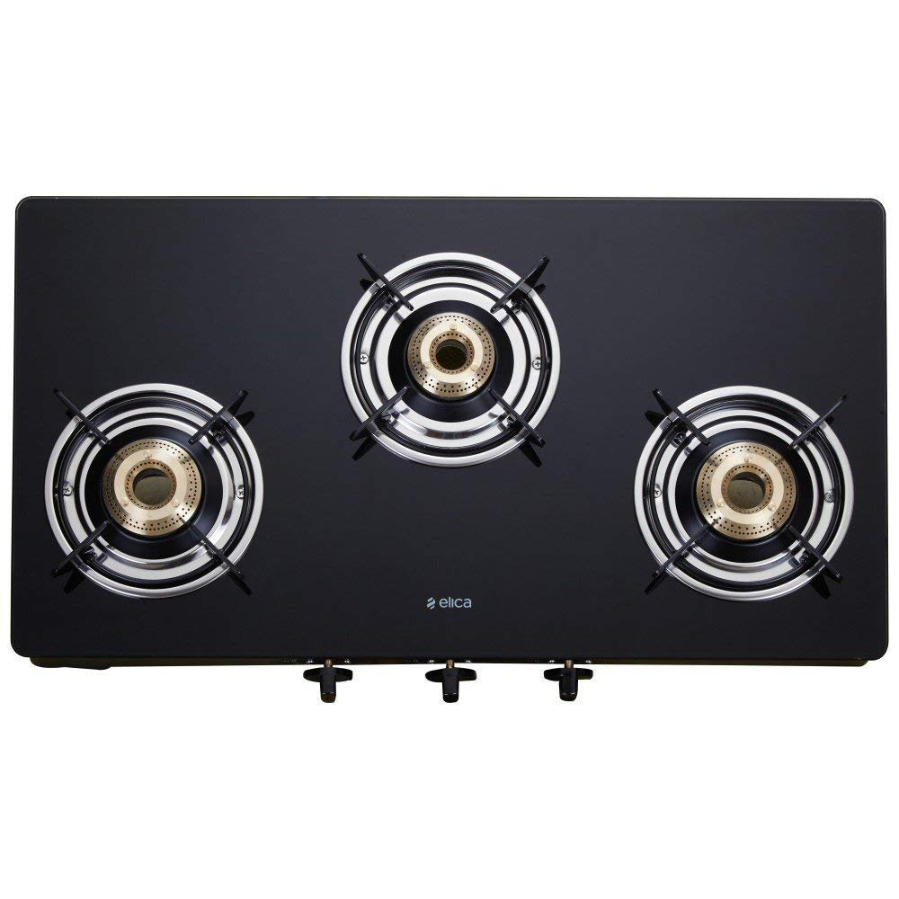Elica Vetro Glass Top 3 Burner Gas Stove